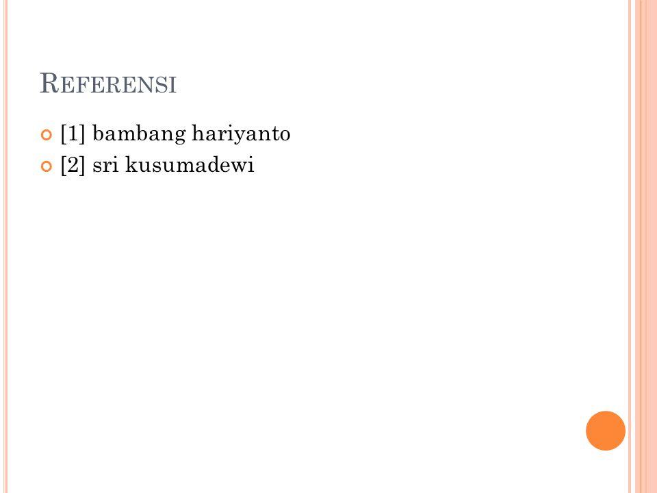 Referensi [1] bambang hariyanto [2] sri kusumadewi